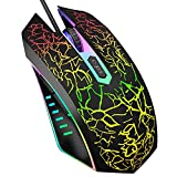 VersionTECH. Gaming Mouse, Ergonomic Wired Gaming Mice with 7 Colors LED Backlight, 4 DPI Settings Up to 3600 DPI Computer Mouse for Laptop PC Games & Work - Black
