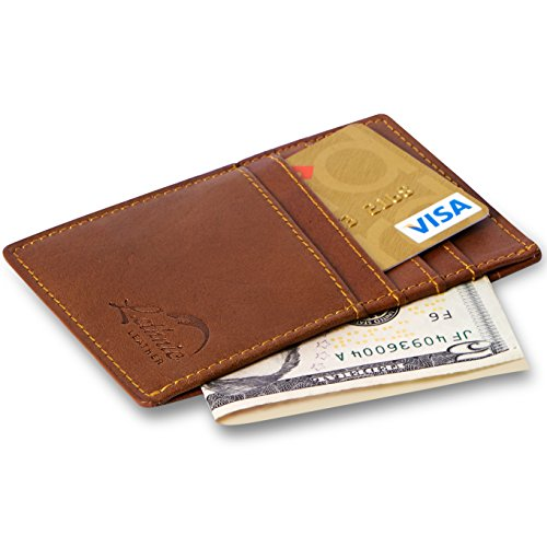 Lethnic Men's Minimalist RFID Front Pocket Slim Wallet – Business Card Holder Wallet – Safe Wallet For Travel – Best gift for Men – Genuine Leather (D…