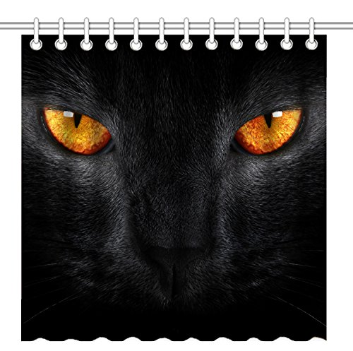 Eyes Cat Face - Wknoon 72 x 72 Inch Shower Curtain,Black Cat Face with Big Bright Yellow Eyes,Waterproof Polyester Fabric Decorative Bathroom Bath Curtains