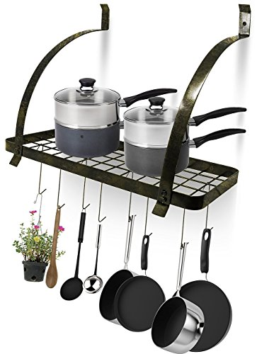 Sorbus Kitchen Wall Pot Rack with Hooks — Decorative Wall Mounted Storage Rack — Multi-Purpose Shelf Organizer Great for Kitchen Cookware, Utensils, Pans, Books, Household Items, Bathroom (Rustic)