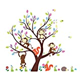 Soledi Wall Sticker Kids Jungle Theme Peel & Stick wall Decal Squirrel Monkey Tree Children Bedroom