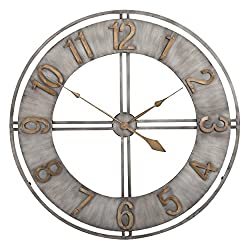 Studio Designs Home Industrial Loft 30 Inches Metal Wall Clock, Steel/Bronze