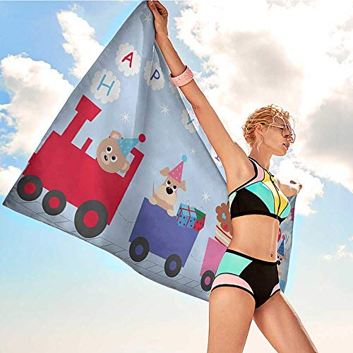 Onefzc Travel Bath Towel Kids Birthday Celebration Baby Bear Dog in Train Balloons Clouds on Pale Blue Backdrop Super Soft Highly Absorbent W35 x L12 Multicolor by Onefzc (Image #1)