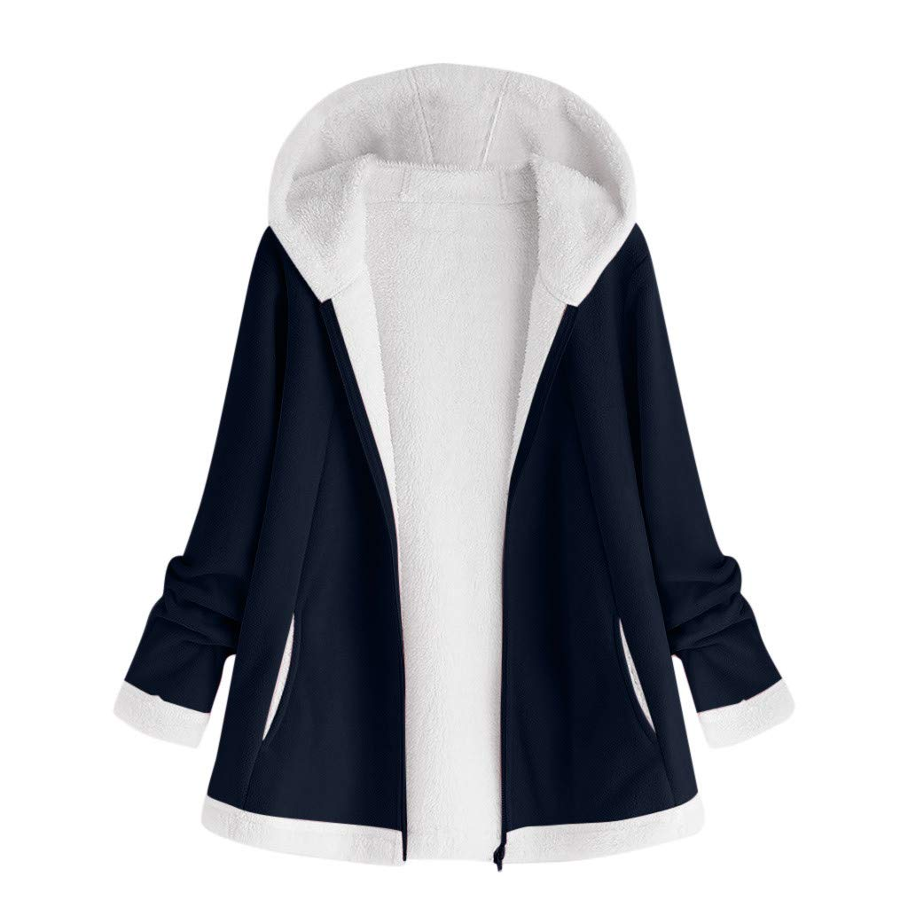 Funnygals - Women Zip Hoodies Casual Pocket Tunic Sweatshirt Oversized Long Hoodie Outerwear Jacket Coats with Fur Lined Navy by Funnygals - Clothing