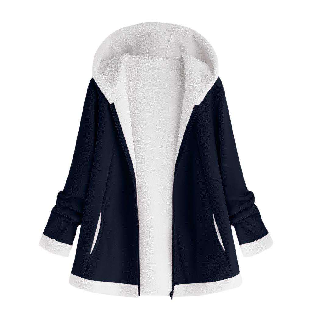 Shybuy Womens Open Front Reversible Casual Fuzzy Hooded Teddy Coat Long Sleeve Fleece Winter Cardigan Jacket
