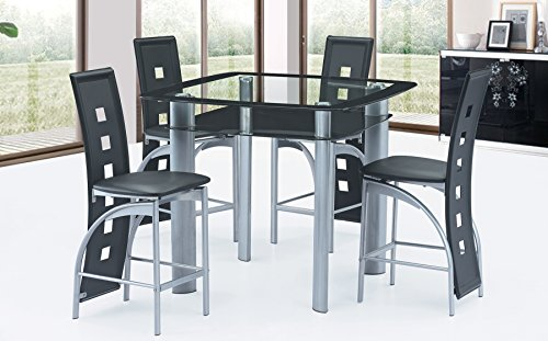 Best Quality Furniture D251Set Dining Set Modern Black and Grey Faux Leather Upholstered Glass Counter Height (5 PC)
