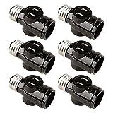 Onite 6pcs E26 to E26 Two Outlet Socket Adapter, US Standard Screw Light Holder, Black