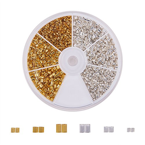 PandaHall Elite 3000 Pcs 3 Sizes 2 Colors Brass Tube Crimp Beads Cord End Caps Diameter 1.5mm 2mm 2.5mm for Bracelet Necklace NJewelry Making Silver Gold
