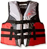 O'Neill Wetsuits Wake Waterski Youth Superlite USCG Life Vest, Smoke/Graphite/Red/White, 50-90 lbs