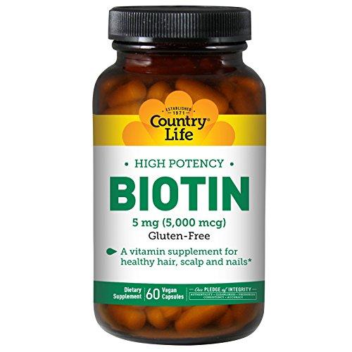 - Country Life, Biotin, High Potency, 5 mg, 60 Vegan Caps