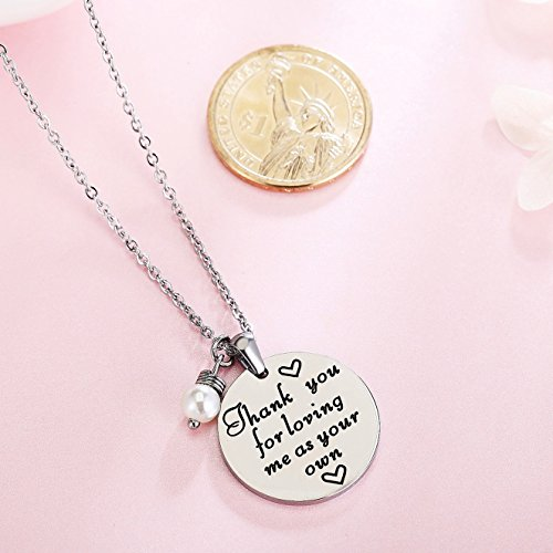 ELOI Christmas Gift for Stepmom Thank You For Loving Me As Your Own Necklace Mother's Day Gifts Bonus Mom Pendant Mother in Law Jewelry by ELOI (Image #1)