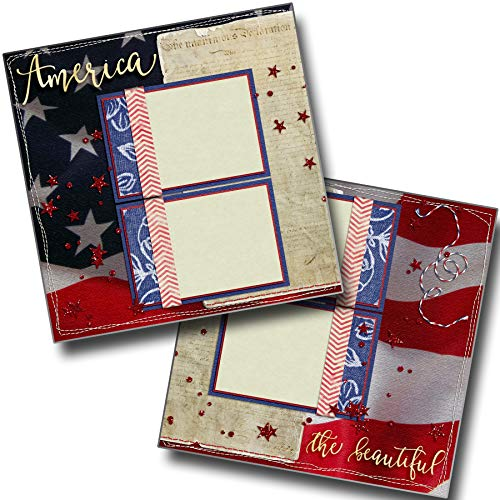 America The Beautiful - July 4th - Premade Scrapbook Pages - EZ Layout 4148