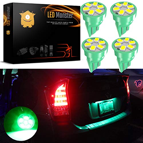 LED Monster Green LED Bulbs 6-SMD Car License Plate Lamp Bulb T10 194 168 W5W (4)