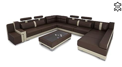 Couch u form xxl  XXL Wohnlandschaft Leder Big Sofa Couch Ecksofa Ledersofa ...