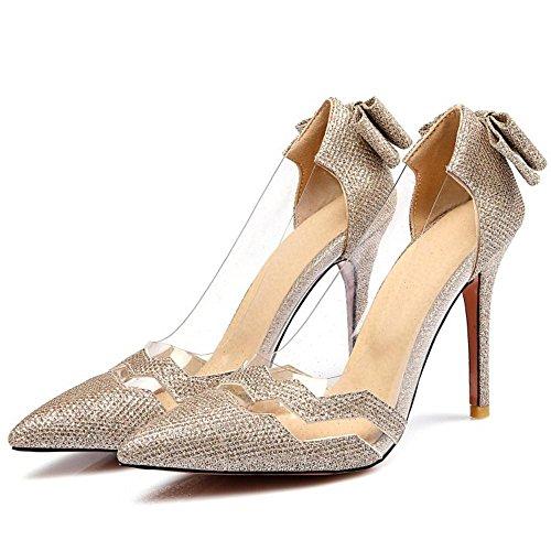 Sandales Transparent Femmes Gold Escarpins Talon Aiguille AicciAizzi qvOSwB