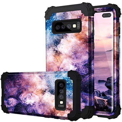 Fingic Galaxy S10 Plus Case, Samsung S10 Plus Case 3 in 1 Heavy Duty Protection Hybrid Hard PC & Soft Silicone Rugged Bumper Anti Slip Full-Body Shockproof Protective Case for S10 Plus - Nebula Black