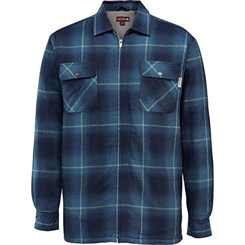 Wolverine Men's Marshall Full Zip Sherpa Lined Shirt Jacket, Dusk Blue Plaid, Medium