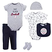 Hudson Baby Sleep and Play, Bodysuit and Bandana Bib Set, 3 Piece, Boy Cactus, 0-3 Months