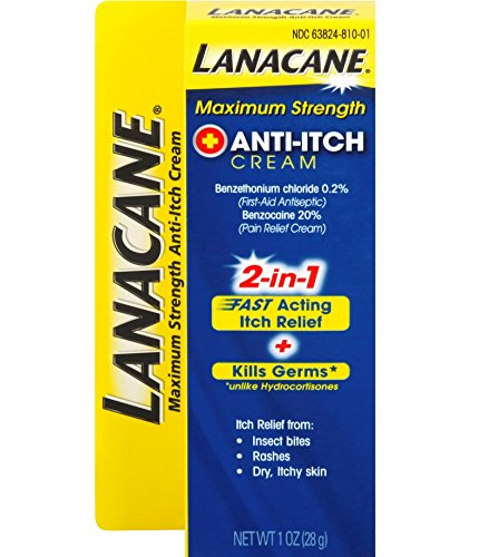 Acting Anti Itch - Lanacane Maximum Strength Anti-itch Cream, 1 oz., 2in1 Fast Acting Itch Relief and Kills Germs