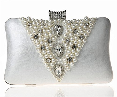 ISHOW Womens Beaded Pearl Diamond Evening Prom Cluthes Envelope Purses