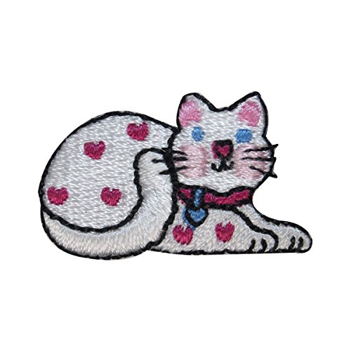 (ID 3050 Cute White Spotted Cat Patch Kitten Kitty Embroidered Iron On Applique)