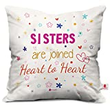 Indibni Sis Are Heart To Heart Quote Printed White Cushion Cover 12X12 With Filler - Gift For Siblings Bhai Bhen On Birthday Anniversary Bhaidooj
