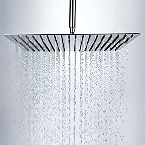 "10""Rainfall Shower Head , YAWALL Ultra-thin Stainless Steel & High Polish Chrome,Luxury Durable Rain Showerhead,Rain Style & Waterfall Effect - Enjoy a Invigorating shower"