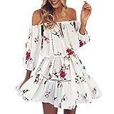 Women Dress,Sunmoot Floral Dress Off Shoulder Sundress Mini Dress Bardot Style (M, White)
