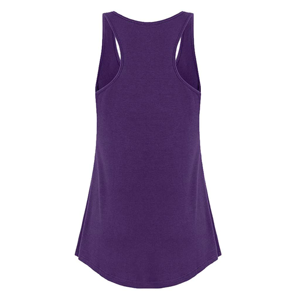 JIANGfu Fashion Women Solid Color Vest Top Ladies Summer Loose Racerback Workout Running Gym Sports Sleeveless Shirt Casual O-Neck Wrinkled Tank Top Blouse