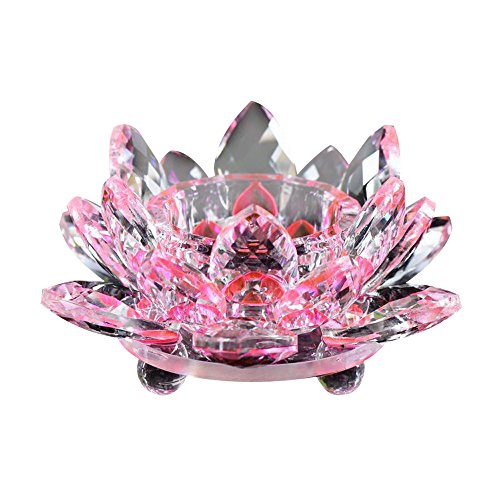 Nesee Lotus Crystal Candle Holder, Pink Crystal Glass Lotus Flower Candle Tea Light Holder Buddhist Candlestick (Pink)