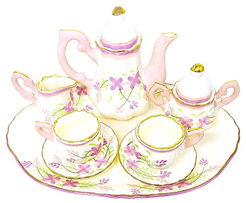 BDJ Hand Painted Ceramic Miniature Tea Party Set for Two - 10 Pieces (Size L) (Style 3) -