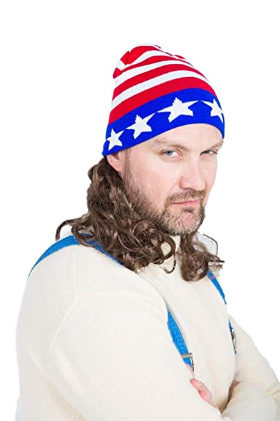 9e62182df20 Amazon.com  The Iceman Mullet Wig Ski Hat  Clothing