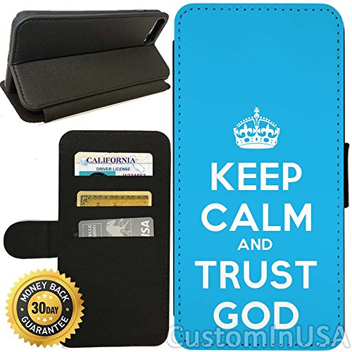 Flip Wallet Case For Iphone 7 Plus  Keep Calm Trust God  With Adjustable Stand And 3 Card Holders   Shock Protection   Lightweight   By Innosub
