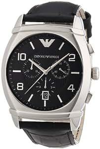 Emporio Armani AR0347 - Reloj analógico de cuarzo para hombre, correa de cuero color negro
