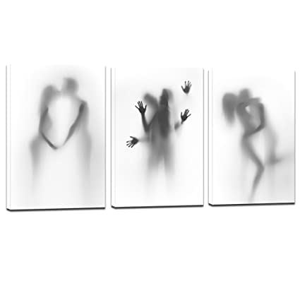 Sea Charm - Sexy Canvas Wall Art Bedroom Decoration,Abstract Nude Couple in  Shower Hazy Silhouette Photos Print on Canvas,Modern 3 Pieces Canvas Art