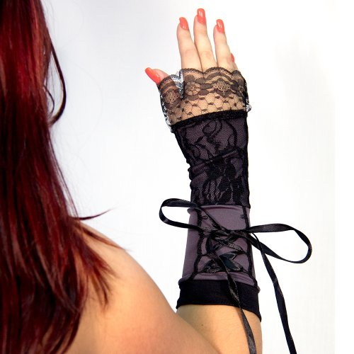 8 Inch Steampunk Lace Up Black Gloves