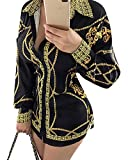 Aro Lora Women's Colorful Printed Button Down Long Sleeves Collared Shirts Blouses Tops X-Large Black