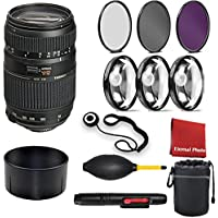 Tamron Auto Focus 70-300mm f/4.0-5.6 Di LD Macro Zoom Lens with Built In Motor for Nikon Digital SLR (Model A17NII). 3 Piece Filter Kit, Blower, Lens Hood, Lens Pen, Case, 3 Piece Macro Closeup Kit