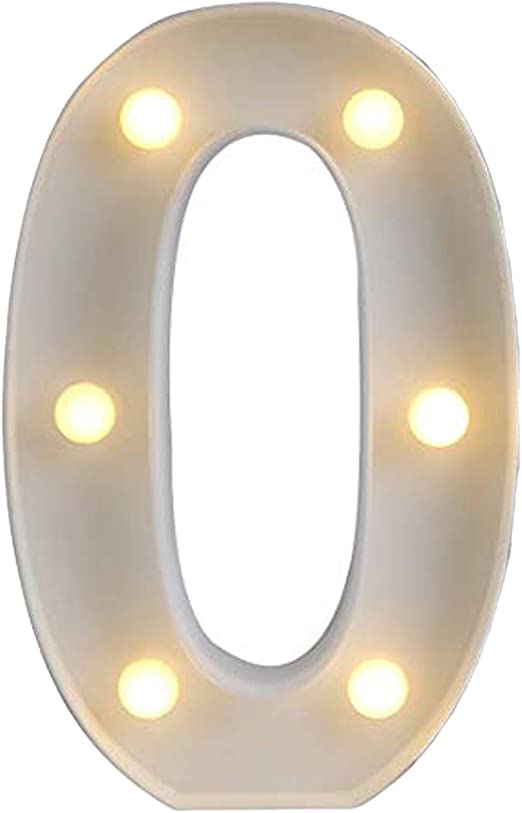 Ogrmar Decorative Led Light Up Number Letters, White Plastic Marquee Number Lights Sign Party Wedding Decor Battery Operated (0)
