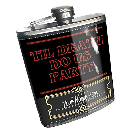 Neonblond Flask Til Death Do Us Party Halloween Strange and Spooky Custom Name Stainless -