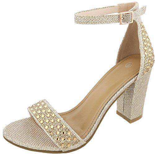 Cambridge Select Women's Open Toe Single Band Glitter Crystal Rhinestone Buckled Ankle Strap Chunky Block Heel Sandal,7.5 B(M) US,Champagne (Chunky Band)