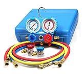 Goetland Brass Diagnostic Manifold Gauge Kit Charging Hoses Coupler Adapters for AC Refrigerant R410a R22 R134a HVAC 5 ft Blue Case