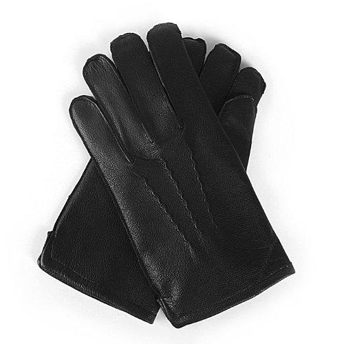 Luxury Lane Men's Cashmere Lined Lambskin Leather Dress Gloves - Black ()