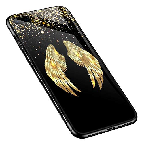 Protective Wing - iPhone 8 Plus Case, Tempered Glass iPhone 7 Case Plus [Anti-Scratch] Fashion Cute Pattern Design Cover Case for iPhone 7/8 Plus - Gold Angel Wings