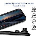 """Dash Cam, DuDuBell 10"""" Mirror Dash Cam with Reverse Assistance, Backup Camera Dual 1080P External GPS, Front and Sony IMX323 Rear Camera with Night Vision IPS Touch Screen Wide Angle"""