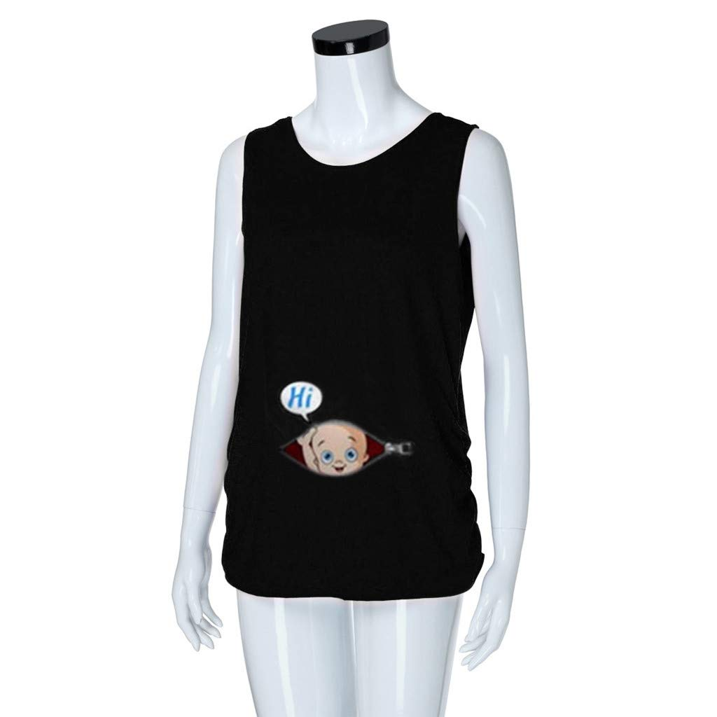 squarex  Maternity Tops Pregnant Cute Kid Pattern Vest Maternity Shirt Sleeveless T-Shirt Pregnant Tops