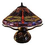 Warehouse of Tiffany Jacenia Tiffany-style Purple Dragonfly 2-light 16-inch Table Lamp