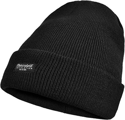 Herren Wintermütze Skimütze mit Thinsulatefütterung extra warm Farbe Schwarz
