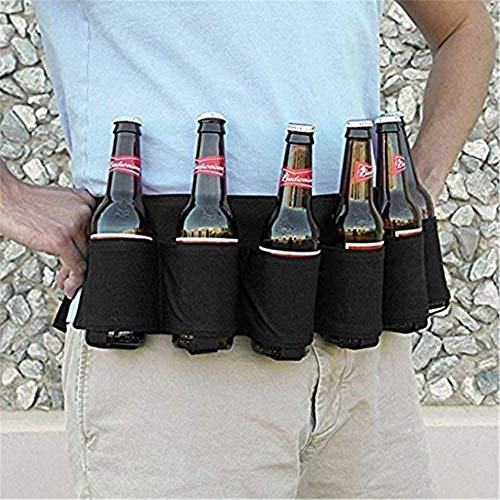 Soda Drinker Beer Belt Holster Drinking Water 6 Beverages Can Carrier Holster with Buckle for Outdoor (Black)