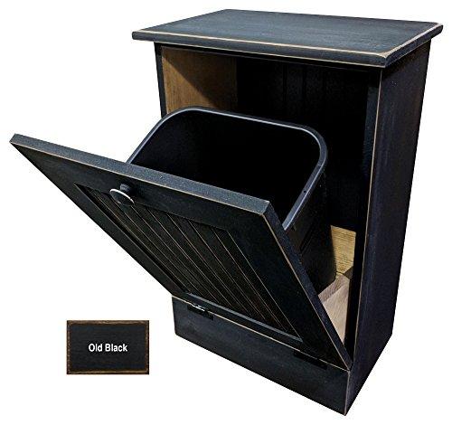 Tilt-Out Wooden Trash/Recycle Bin Holder (Old - Black)